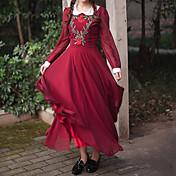 Mujer Corte Swing Vestido - Plisado, Un Color Jacquard