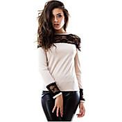 Mujer Sexy Casual/Diario Otoño Camiseta,Escote Redondo Retazos Manga Larga Algodón Opaco