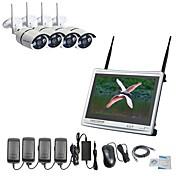 strongshine®4ch h.264ワイヤレスNvr、12.5インチスクリーン&960p防水/赤外線WiFi ipカメラ