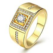 男性用 指輪 幸福 あり 高級ジュエリー コスチュームジュエリー キュービックジルコニア 銅 銀メッキ ゴールドメッキ 幾何学形 ジュエリー 用途 結婚式 パーティー 日常 クリスマスギフト