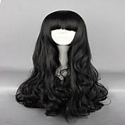 女性 人工毛ウィッグ キャップレス 非常に長いです ウェーブ ブラック バング付き コスプレ用ウィッグ ハロウィンウィッグ カーニバルウィッグ コスチュームウィッグ