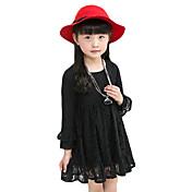 Vestido Chica de-Casual/Diario-Un Color-Algodón-Primavera / Otoño-Negro / Rosa / Rojo