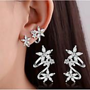 Mujer Pendientes cortos Pendientes con clip Cristal La imitación de diamante Diseño Básico Doble capa joyería de disfraz Plata de ley