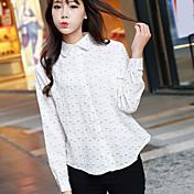 女性用 シャツ シャツカラー 水玉 コットン