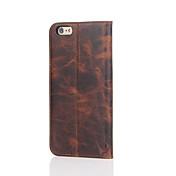 のために カードホルダー / スタンド付き ケース フルボディー ケース ソリッドカラー ハード 本革 のために Apple iPhone 7プラス / iPhone 7 / iPhone 6s Plus/6 Plus / iPhone 6s/6