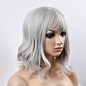 Mujer Pelucas sintéticas Sin Tapa Corto Ondulado Natural Gris Corte Bob Con flequillo Peluca natural Peluca de Halloween Peluca de