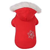 犬用品 コート / パーカー レッド / ブラウン 犬用ウェア 冬 スノーフレーク柄 保温 / リバーシブル / クリスマス