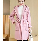 女性 カジュアル/普段着 秋 ソリッド コート,シンプル ピンク / レッド / ブラック / グリーン ウール 長袖