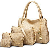 Mujer Bolsos PU Conjuntos de Bolsa Set de 4 piezas de monedero Cuentas para Formal Todas las Temporadas Blanco Negro Azul Dorado