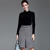 女性 カジュアル/普段着 秋 セット スカート スーツ,シンプル タートルネック ソリッド ブラック ポリエステル 長袖