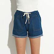 Mujer Casual Tiro Medio Rígido Vaqueros Pantalones,Un Color Poliéster Verano