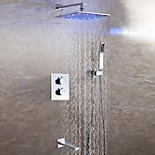 Moderno Colocado en la Pared Alcachofa incluida Con Termostato LED Válvula Cerámica Dos manijas de Cuatro Agujeros Cromo, Grifo de ducha