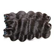 人毛 ブラジリアンヘア 人間の髪編む ウェーブ ヘアエクステンション 1個 ブラック