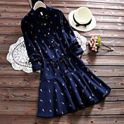 新しい秋と冬のキリンラペルハーフオープンバックル韓国文学のスタイルのカジュアルなドレスのサンディング