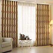Corredizo Anillo Lazo de tela Doble plisado Solo plisado Dos Paneles Ventana Tratamiento Modern , Jacquard Rayas Sala de niños Poliéster
