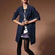 女性 お出かけ 秋 冬 ソリッド デニムジャケット,シンプル ブルー その他 長袖 ミディアム