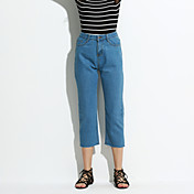 Mujer Casual Tiro Alto Rígido Corte Recto Vaqueros Pantalones,Un Color Poliéster Todas las Temporadas
