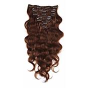 clip en extensiones de cabello humano brasileño virginal del pelo 7a afroamericano onda del cuerpo ins de clip