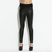Mujer Tiro Alto Microelástico Ajustado Vaqueros Pantalones,Un Color Poliuretano Otoño
