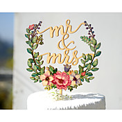 ケーキトッパー 非パーソナライズ 夫妻 カード用紙 結婚式 記念日 ブライダルシャワー イエロー ガーデンテーマ フローラルテーマ クラシックテーマ ヴィンテージテーマ 1 ポリバッグ