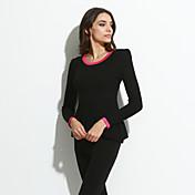 Mujer Regular Pullover Casual/Diario Simple,Un Color Azul Rojo Negro Escote Redondo Manga Larga Acrílico Primavera Medio Microelástico