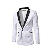 男性 カジュアル/普段着 春 秋 ブレザー,ストリートファッション ディープVネック カラーブロック ホワイト ブラック コットン 長袖