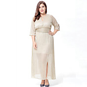女性用 プラスサイズ シフォン ドレス - スリット, ソリッド マキシ
