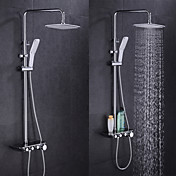 Moderno Bañera y ducha Con Termostato Válvula Cerámica 2 Orificios Sola manija Dos Agujeros Cromo , Grifo de ducha