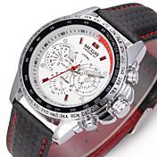 MEGIR Hombre Reloj de Pulsera Reloj de Vestir Reloj de Moda Reloj Deportivo Cuerda Automática Reloj Casual Cuero Auténtico Banda Encanto