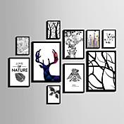 抽象的 花柄/植物の 動物 額入りキャンバス 額入りセット ウォールアート,ポリ塩化ビニル 材料 ブラック マットなし フレーム付き For ホームデコレーション フレームアート