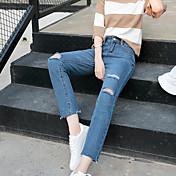女性の白い穴BFゆるいジーンズ薄い9パンツの流入の2017春新女性の韓国語バージョンに署名