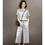 女性用 縞柄 日常着 シック・モダン パンツ ショート 半袖 ラウンドネック 夏