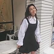 サインパフカレッジ風野生のストラップドレスシャツ+