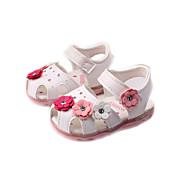 Chica Bebé Sandalias Confort PU Primavera Verano Otoño Casual Confort Aplique Tacón Plano Blanco Azul Rosa Plano