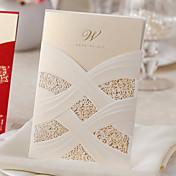 Envuelve y Guarda Invitaciones De Boda Tarjetas de invitación Estilo clásico Papel perlado
