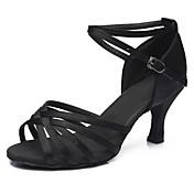 Mujer Zapatos de Baile Latino Semicuero Sandalia / Tacones Alto Hebilla Tacón Cubano Personalizables Zapatos de baile Plateado / Leopardo