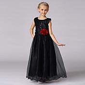 princesa piso longitud vestido de niña de flores - satén cuello joya sin mangas con lentejuelas por bflower