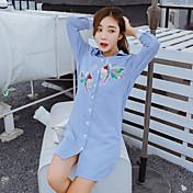符号2017春女性のストライプのシャツの新しい韓国の長袖のスパンコール刺繍鳥緩い長いセクション
