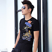 Hombre Clásico Ropa Cotidiana Verano Camiseta,Escote Redondo Art Decó Manga Corta N/A Medio