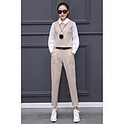 2017春の新しいファッションドールの襟ランタンスリーブシャツは薄いレジャーの足パンツツーピースの女性でした