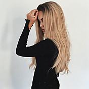 Mujer Pelucas sintéticas Sin Tapa Largo Ondulado Negro / Strawberry Blonde Pelo Ombre Raíces oscuras Raya en medio Peluca natural Las