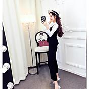 Las mujeres de Hitz de la moda Corea del club atractiva delgada camisa de manga larga traje de pantalones de pierna ancha femenina otoño