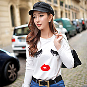 女性用 プリント Tシャツ カラーブロック