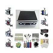 タトゥーマシン プロのタトゥーキット 6 xライニングとシェーディング用鋼入れ墨機械 高品質 LCD電源 2×ステンレス鋼グリップ 4×アルミニウムグリップ 50 クラシック 日常