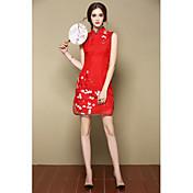 Mujer Línea A Vestido Noche Fiesta/Cóctel Vacaciones Bonito Tejido Oriental,Floral Escote Chino Sobre la rodilla Sin Mangas Rosa Rojo Seda