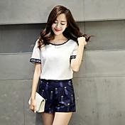 新しい韓国の女性は薄い半袖の綿のファッション印刷レジャースーツのズボンのツーピースの女性でした