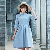 2017春と夏のチョンサムドレス文学的なレトロな格子縞のトランペットの袖スリムなラインスカート