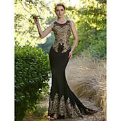 Trompeta / Sirena Escote de ilusión Larga Licra Evento Formal Vestido con Detalles de Cristal por Sarahbridal