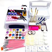 52pcs establece la caja de herramientas de la desinfección 818 lámpara ultravioleta 200 PC clavo las extremidades 15pcs plumas exhiben el