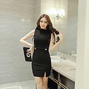 サイン夏の新しい韓国の気質セクシーな透かし彫りステッチオールスリムパッケージヒップドレスの女性のスプリット